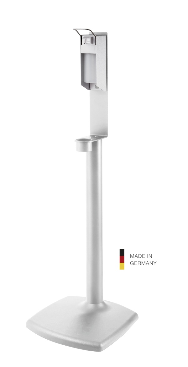 Disinfectant column stand including dispenser