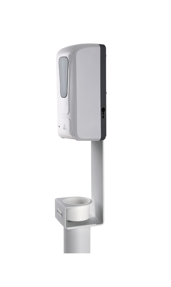 Disinfectant column stand including sensor dispenser